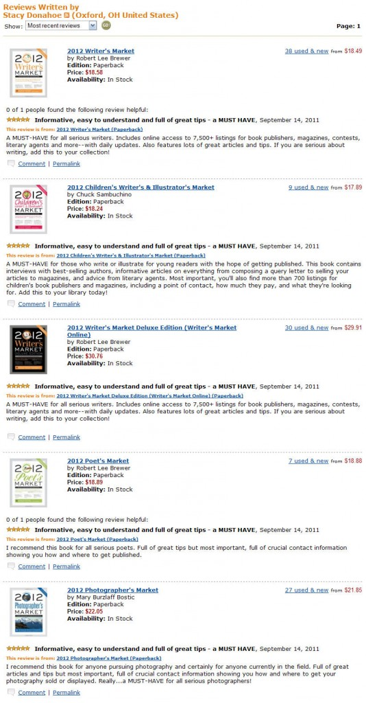 Stacy Donahoe's Amazon Writer's Market Reviews